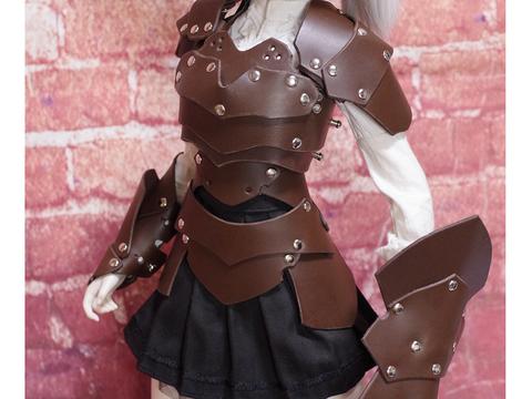 革の鎧(ダークブラウン)+革の盾 1/3ドール用 (40~60cmドール向け)革製鎧a71sp