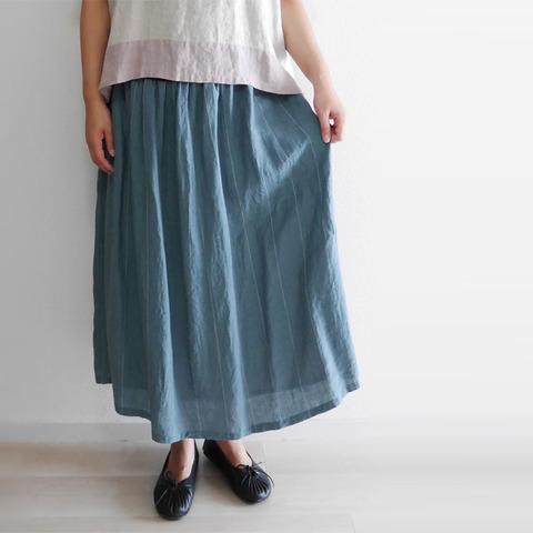 リネンストライプギャザーロングスカート 2013648 日本製 SORTE ソルテ