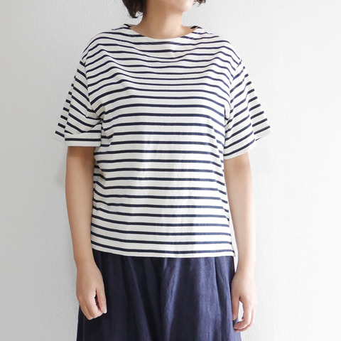 コットンコーマ天竺ボーダーボートネック5分袖Tシャツ 2112702 日本製 SORTE ソルテ