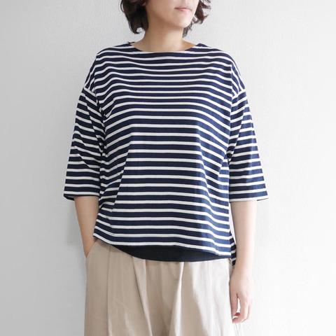 コーマ天竺ボーダーボートネック7分袖Tシャツ 2112703 日本製 SORTE ソルテ