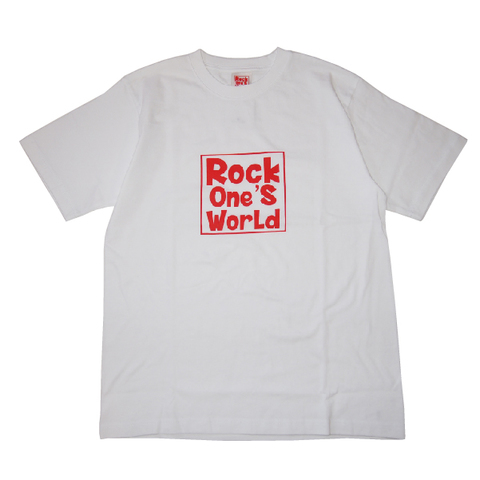 ROCK ONE'S WORLD ロックワンズワールド SQUARE LOGO TEE-WHITE/RED-