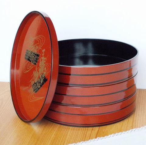 濃赤金黒水辺筏菊花波三段重すし桶円形重箱