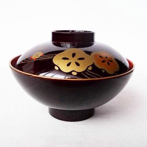 昭和の漆器【梅花紋竜田川】お吸物椀