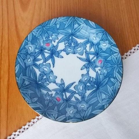 藍フチピンク3点二輪草柄小皿13.7cm