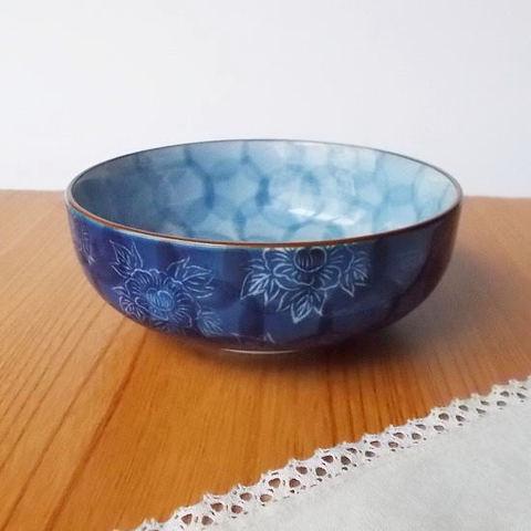 口さびダミ藍白線牡丹花散らし小鉢