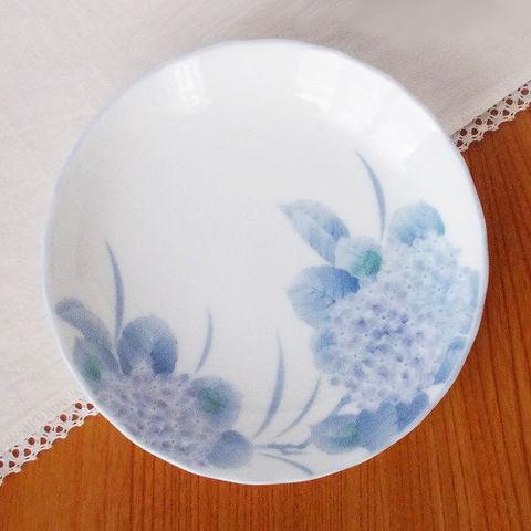 白磁紫あじさい花柄6寸皿/寿司皿/昭和のロングランシリーズ