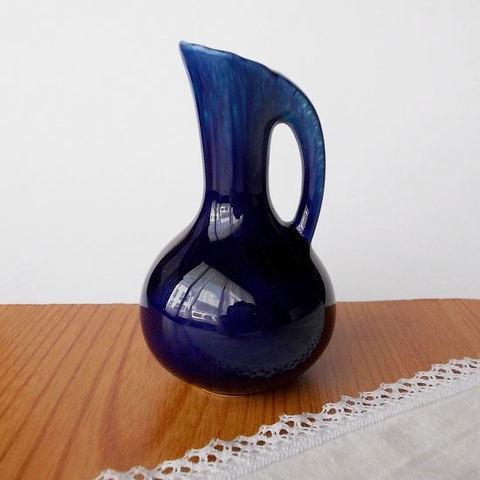 昭和レトロつる首mini花瓶/瑠璃色