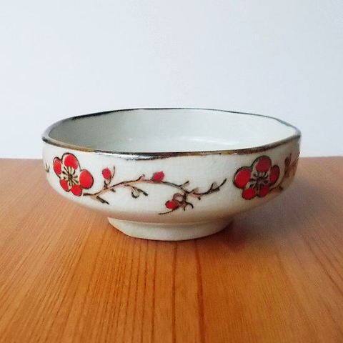 赤金梅花図フチさび貫入中鉢