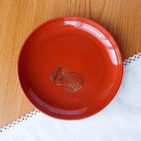朱金梅竹柄の円菓子皿14.5cm(樹脂製)