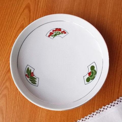 グリーン赤のどこポップで可愛い松竹梅柄の金ライン円形高台深鉢