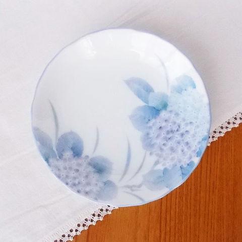 白磁紫あじさい花柄3.5寸小皿/昭和のロングランシリーズ