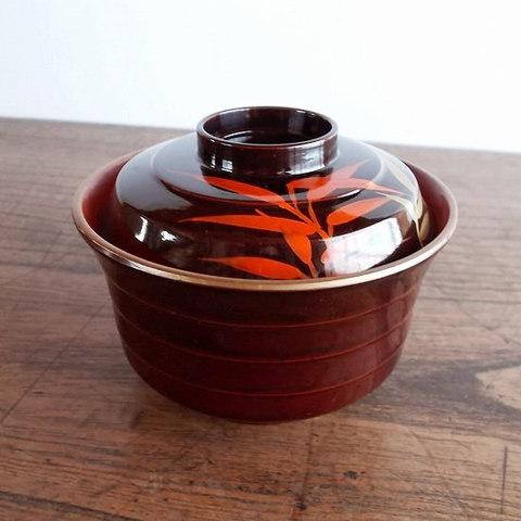 【昭和の漆器】赤金笹の葉柄のレトロ蓋付き小吸い椀