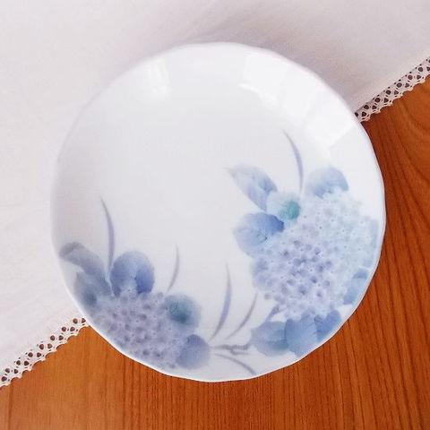白磁紫あじさい花柄4.5寸小皿/昭和のロングランシリーズ