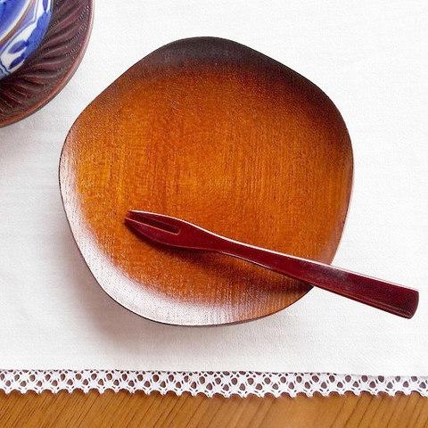 【伝統工芸品】欅 手作り本うるし 梅型5角形柄銘々皿