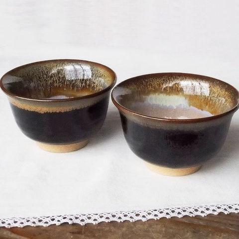 【伝統工芸】黒唐津焼反り口(朝顔形/碗型)湯呑み