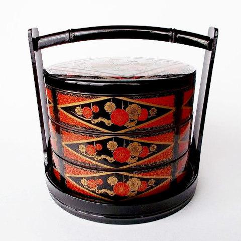 間取り金赤梅枝図柄手提げ台付き漆器円形3段お重箱/寿司桶/遊山箱