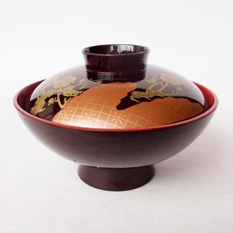 昭和の漆器【鹿の子梅の花枝図】お吸物椀
