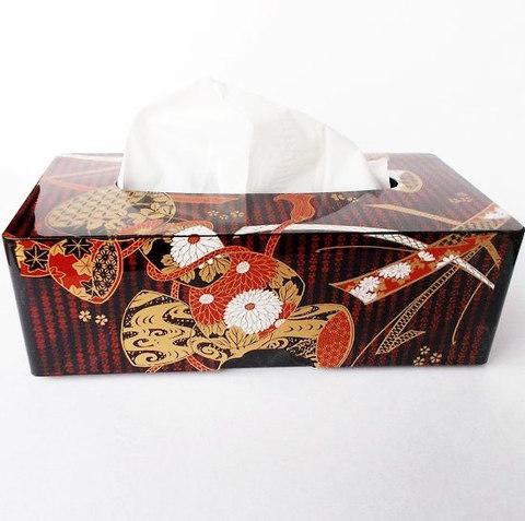 昭和の漆器可愛らしい鼓柄リボン布柄ティッシュケース