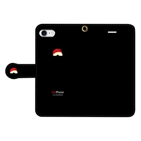 うさぎリンゴ iPhone手帳型ケース ブラック