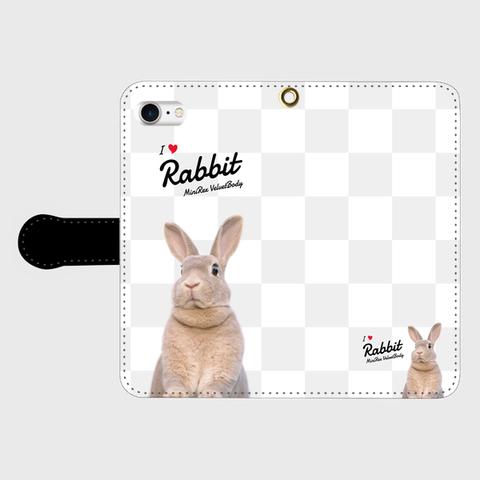 I Love Rabbit うづらVer iPhone手帳型ケース