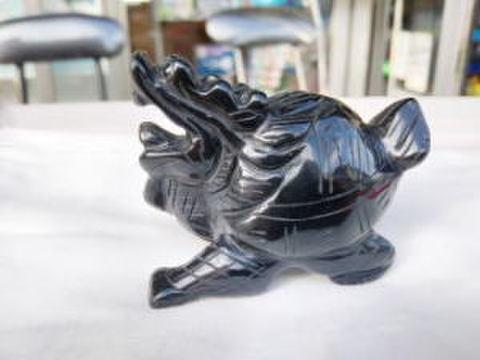 メキシコ産黒曜石(オブシディアン)龍亀彫刻