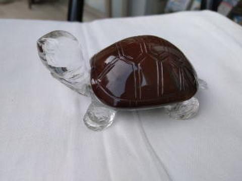 (寄付50円)天然石甲羅の天然水晶カメ