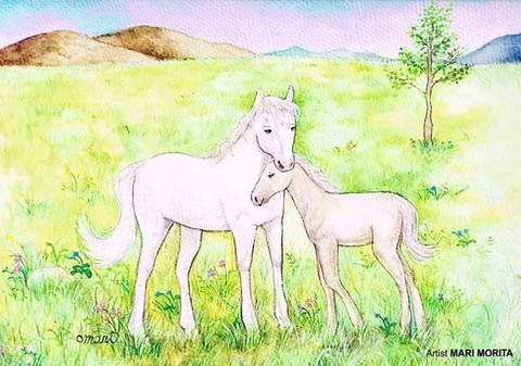 【ポストカード】草原でよりそう馬の親子