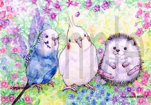 【ポストカード】花の中で大好きなお友達と一緒に