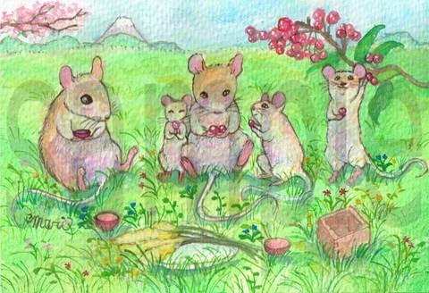 【原画】ネズミのお茶会【ポストカードサイズ】
