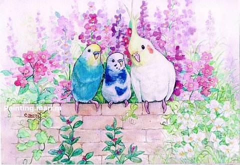 【ポストカード】夏の花と寄り添う鳥たち