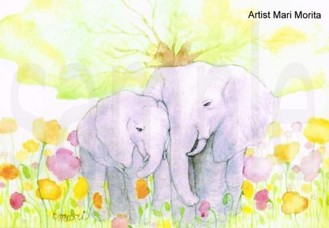 【ポストカード]】緑の息吹と象の親子