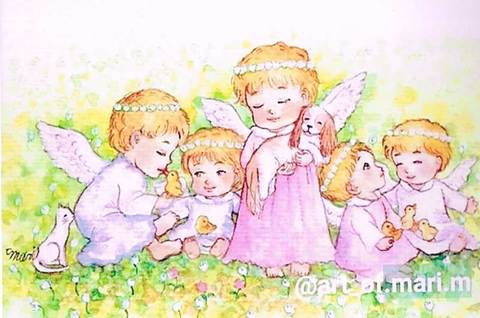 【ポストカード】天使たちの花かんむり