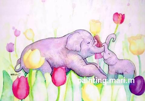 【ポストカード】チューリップと象のぬくもり