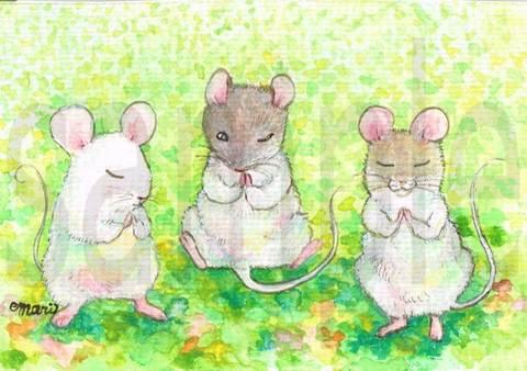 【原画】ネズミたちの願いごと【ポストカードサイズ】