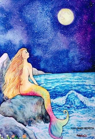 【ポストカード】人魚と月夜の願い事