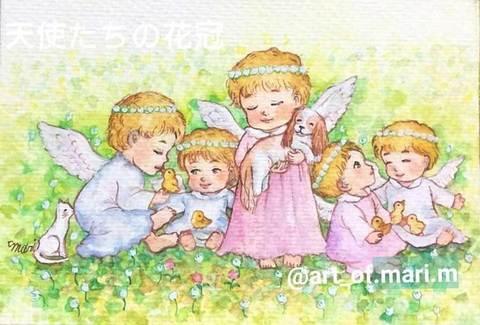 【原画】天使たちの花かんむり【ポストカードサイズ】