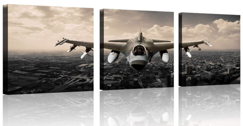 Airplane Wall Art Canvas Airplane Pictures Canvas Stretched and Framed Aircraft Pictures Paintings Artwork for Home Decor,3 pcs/Set