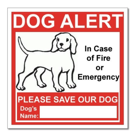 Pet Alert Safety Warning Window Door Sticker