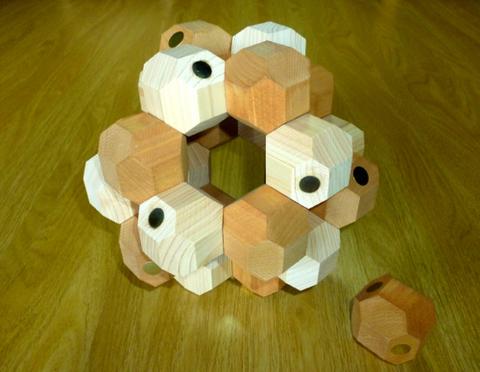 マグネット切稜立方体積み木セット