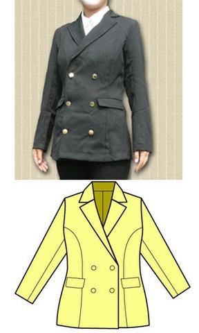Wボタンのテーラードジャケットフェミニンタイプの型紙 婦人Lサイズ