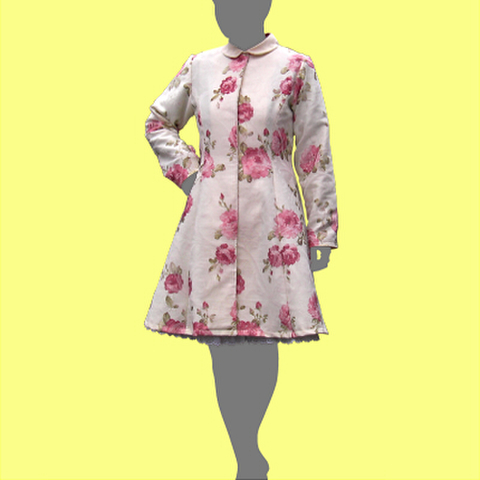 プリンセスラインのコートの型紙 婦人2Lサイズ